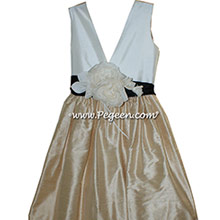 Couture NEW IVORY, BLACK AND WHEAT SILK  FLOWER GIRL DRESSES BY PEGEEN STYLE 419