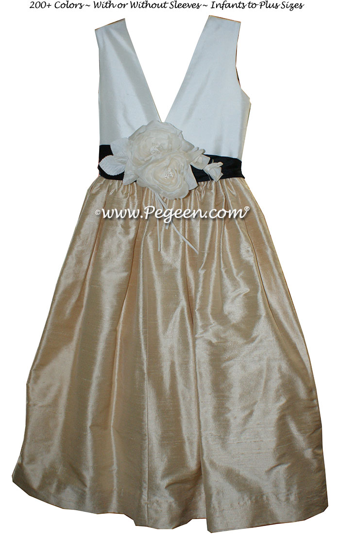 Flower girl dress in light gold, ivory and black Style 419 | Pegeen