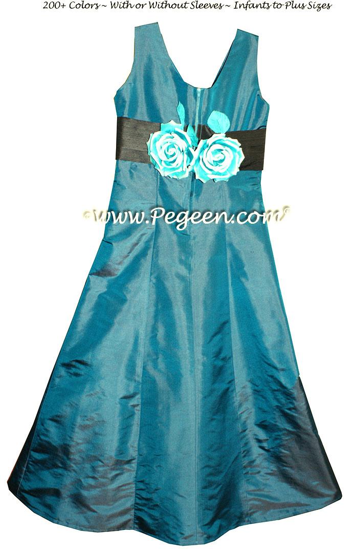 Jr Bridesmaids Dress style 305 Baltic Sea and Black Silk | Pegeen