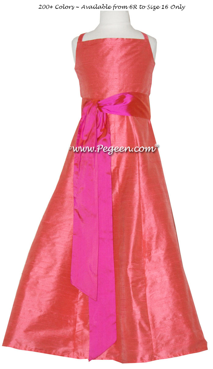 MELON silk, SORBET PINK Silk Jr. Bridesmaids or CUSTOM FLOWER GIRL DRESSES