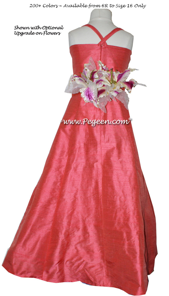 Melon, Sorbet Pink Flower girl dress for older girls by Pegeen