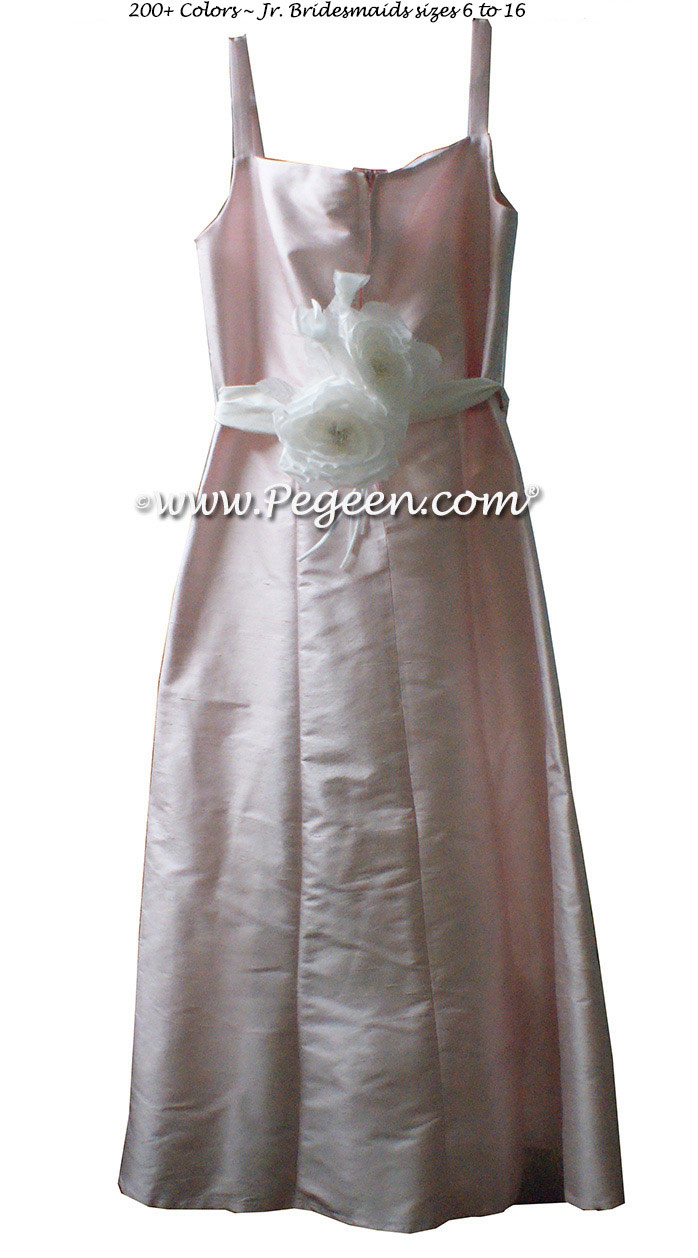 Petal Pink silk, Antique White Silk Jr. Bridesmaids or Custom Flower Girl Dress