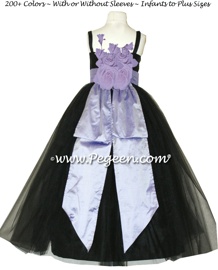 Jr Bridesmaid Dresses Black silk, tulle and lilac silk Style 424  | Pegeen