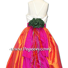 Emerald and Mango Orange and Hot Pink Flower Girl Dresses - PEGEEN