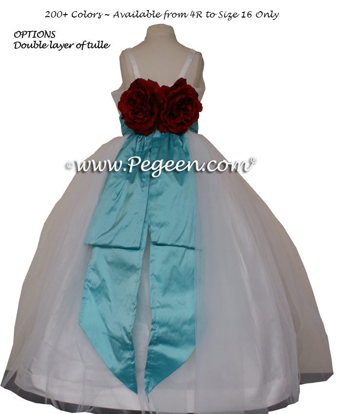 Tulle Jr Bridesmaids Dress in White and Tiffany Blue Style 424 | Pegeen