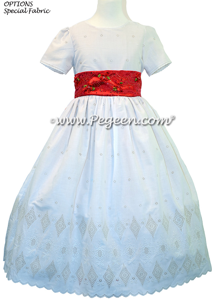 Christmas Red and Creme Embroidered Swiss Cotton CUSTOM FLOWER GIRL DRESSES