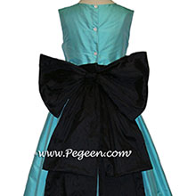 black and tiffany blue silk flower girl dresses