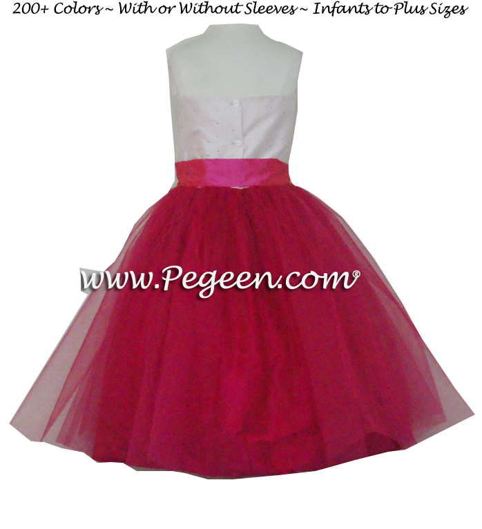 Raspberry and peony pink silk with raspberry layers of tulle flower girl dress