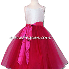 Tulle and Hot pink Jr. Bridesmaids Dress in Cerise Pink, raspberry and Light Pink with a sequined bodice and spagetti straps