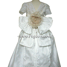 Antique White and bisque ballerina style Flower Girl Dresses with beaded aloncon lace
