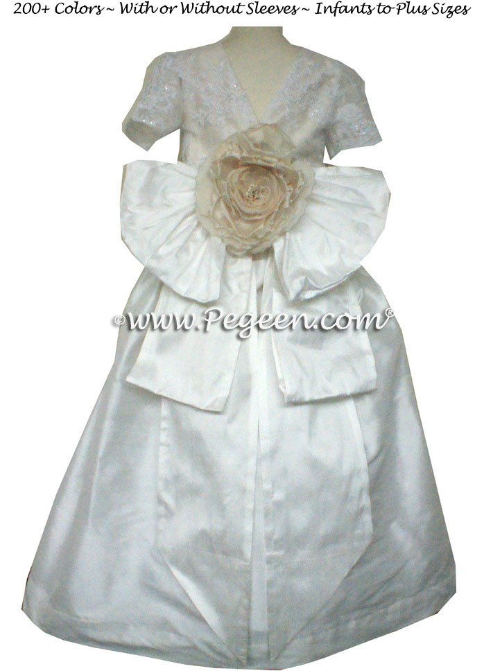 Antique white and bisque aloncon lace and tulle silk flower girl dresses