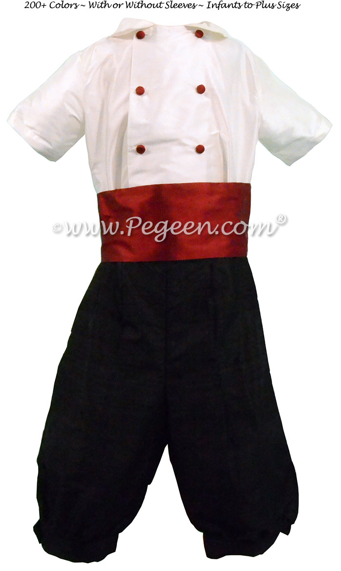 Style 509 Boys Ring Bearer Suit in Black and Christmas Red