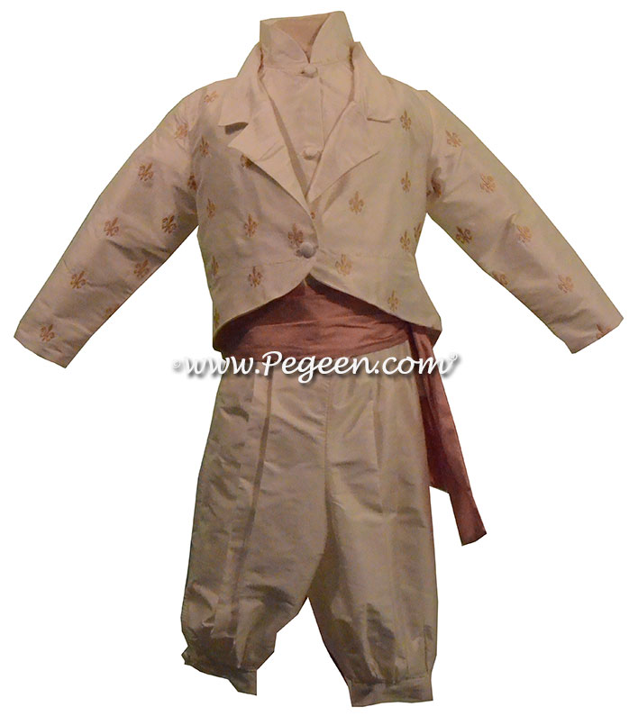 Style 590 Boys Ring Bearer Suit in New Ivory and Peach