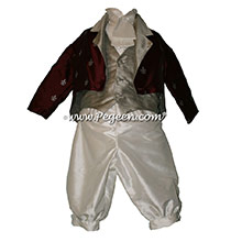 Style 591 Boys Ring Bearer Suit in Burgundy and Silver