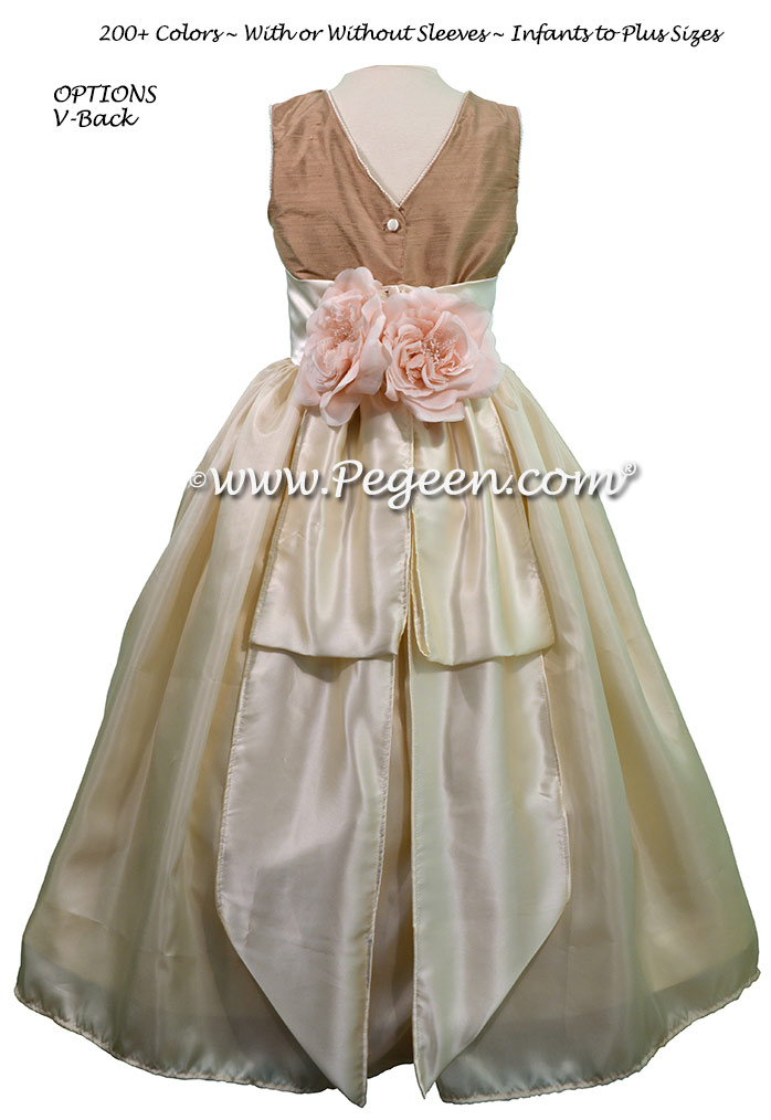 Antigua Taupe Dupione and Buttercream Charmeuse flower girl dresses