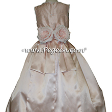 Ballet Pink Dupione and Pink Silk Charmeuse Custom Silk Flower Girl Dresses