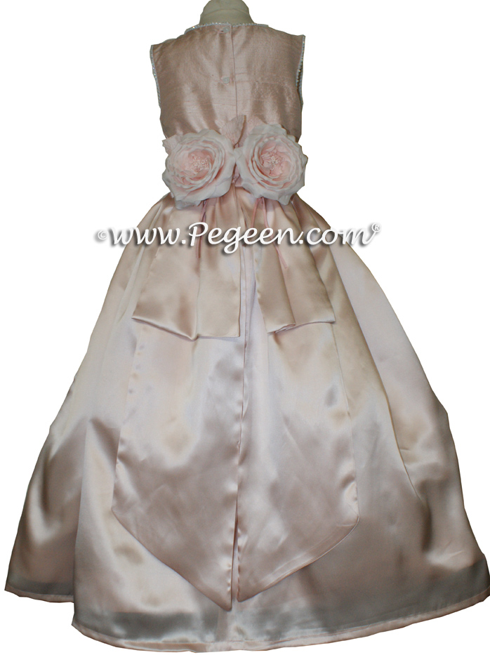 Pink Custom Silk Flower Girl Dresses  - Style 600