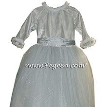 Platiunum and Silver tulle flower girl dress with fur
