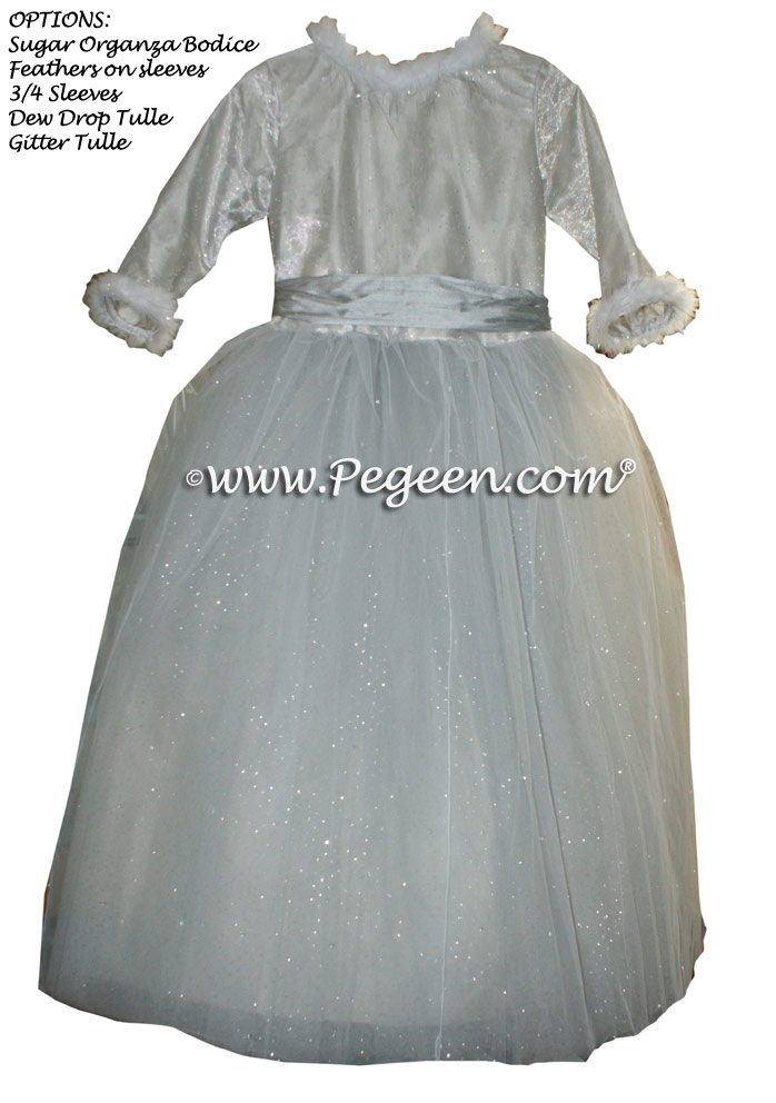 Platinum and Morning Gray ballerina style Flower Girl Dresses with layers of tulle