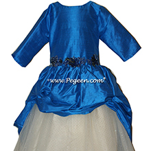 blue Custom Tulle BAT MITZVAH DRESS OR flower girl dresses by PEGEEN
