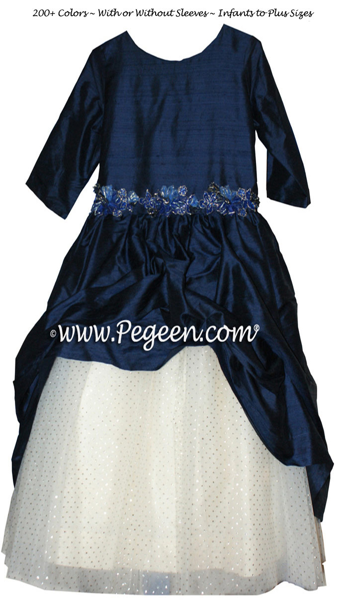 Jr. Bridesmaids dresses with a New Ivory tulle skirt and Navy Silk Overskirt with 3/4 Sleeves
