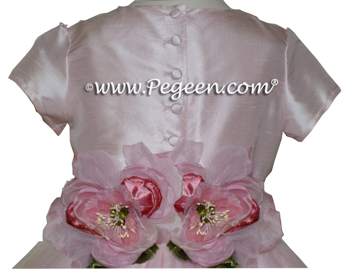 Peony Pink and Crystal Tulle sash flower girl dresses