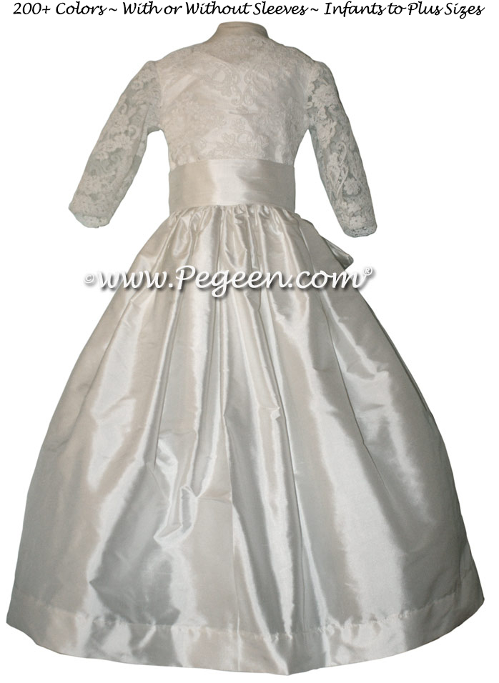 ALONCON LACE CUSTOM FIRST COMMUNION DRESS WITH LONG SLEEVES