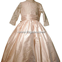 Antique White and Blush Pink  Silk Flower Girl Dresses Style 694 from Pegeen