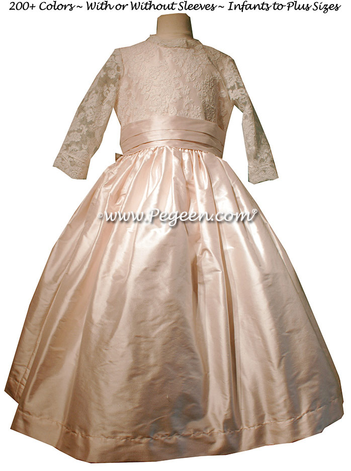 Flower Girl Dresses Style 630 in New Ivory and Champagne Pink silk