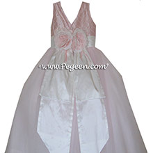 FLOWER GIRL DRESS IN Petal Pink with pintucks and pearls TULLE AND PEGEEN Regal Collection - Princess Anne STYLE 672