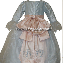 Marie AntoinetteSteele Blue and Blush Pink Silk Flower Girl Dresses Style 694 from Pegeen