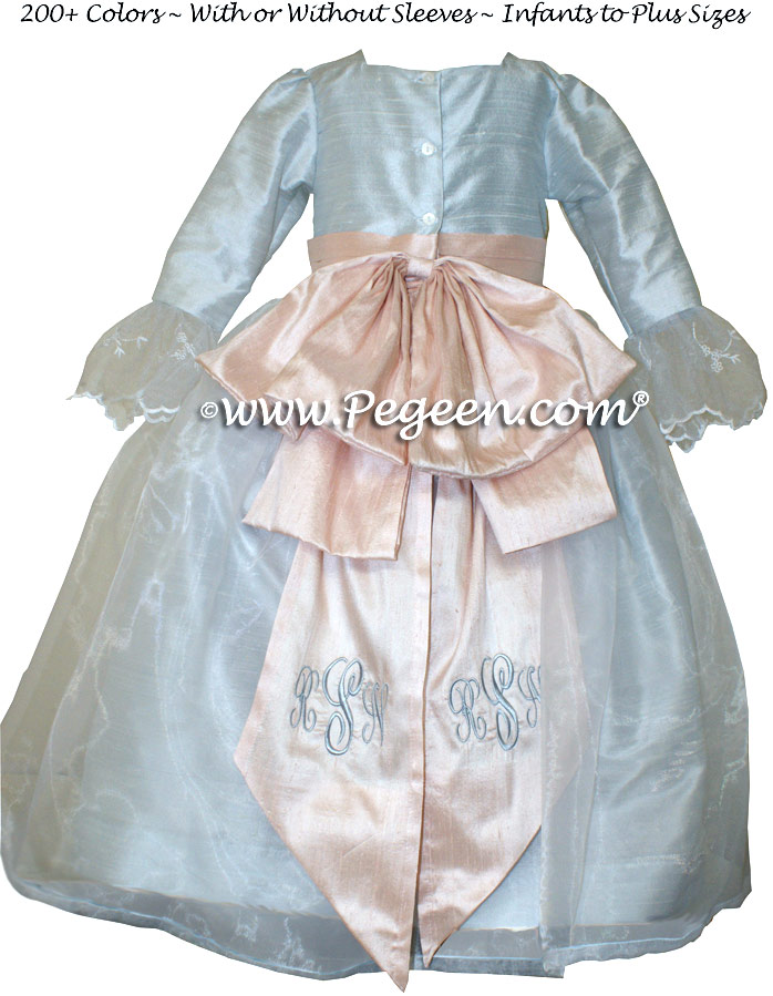 Steele Blue and Blush Pink Silk Flower Girl Dresses Style 694