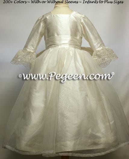 Antique White Silk Flower Girl Dresses Style 694