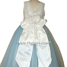 Baby Blue and White tulle flower girl dresses with Aloncon Lace