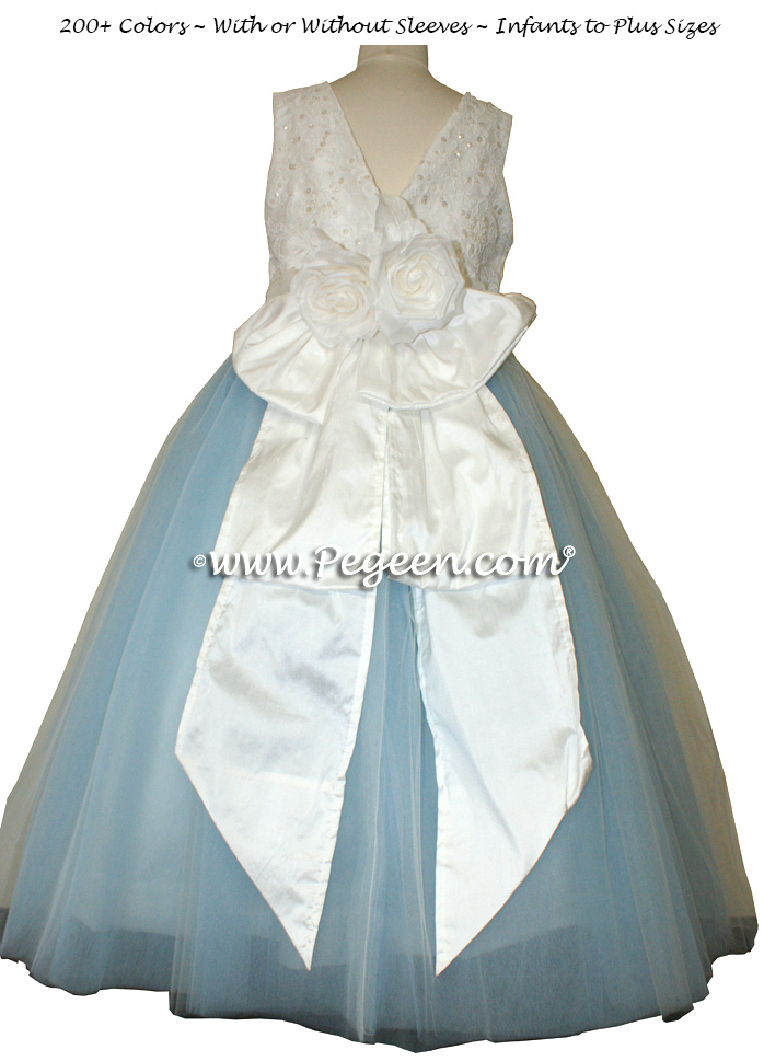 Antique white and Baby Blue Aloncon Lace Flower Girl Dresses with layers of tulle
