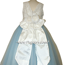 Antique White AND BABY BLUE WITH IVORY TULLE and beaded aloncon lace Flower