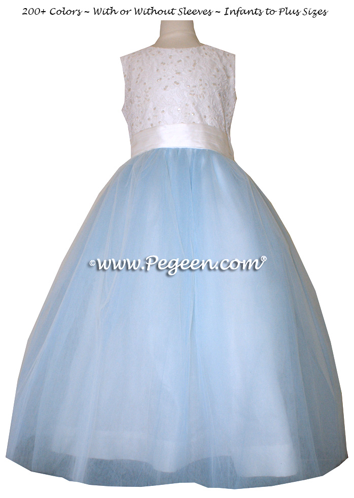 Flower Girl Dress with Tulle in White and Baby Blue with Aloncon Lace | Pegeen