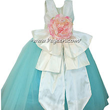 Antique white and Bahama Breeze and Peony Pink Flower Girl Dresses with layers and layers of tulle and Beaded aloncon Lace flower girl dresses