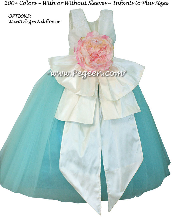 Antique white and Bahama Breeze and Peony Pink Flower Girl Dresses with Beaded Aloncon Lace flower girl dresses