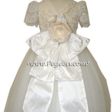 Antique White and bisque ballerina style Flower Girl Dresses with layers and layers of tulle