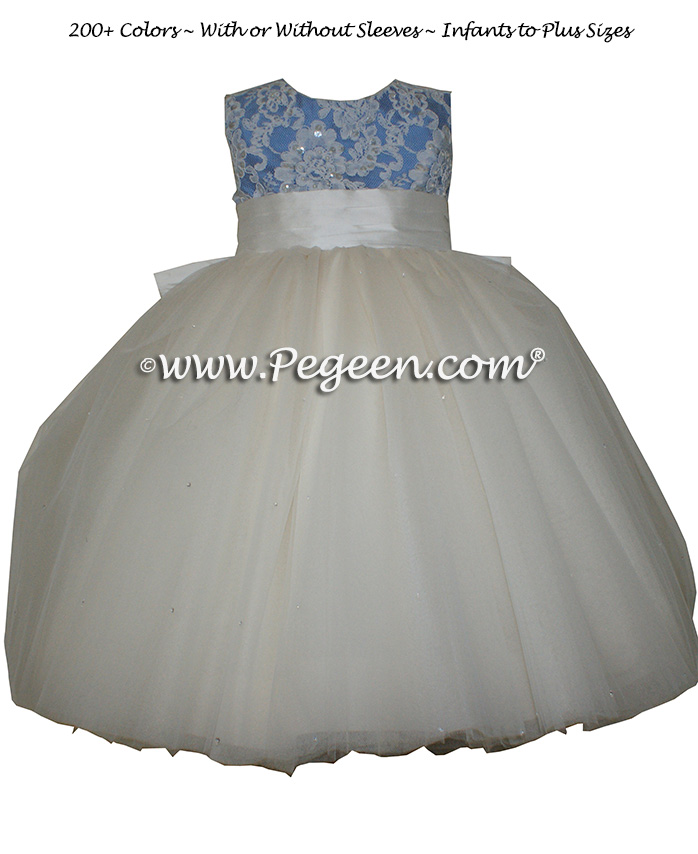 Flower Girl Dress with tulle and Beaded Aloncon Lace Style 697 in Blue | Pegeen