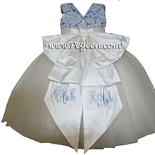 Antique white and Blue Moon Flower Girl Dresses with layers and layers of tulle and Beaded aloncon Lace flower girl dresses