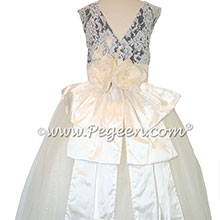 Eggplant and White tulle flower girl dresses with Aloncon Lace with layers and layers of tulle