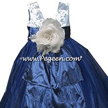 Antique White AND Navy BLUE WITH IVORY TULLE and aloncon lace Flower girl dress