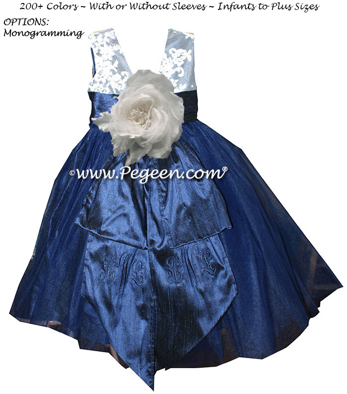 ANTIQUE WHITE AND Navy BLUE WITH IVORY CUSTOM FLOWER GIRL DRESSES WITH TULLE