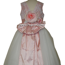 Antique white and PEONY PINK ballerina style FLOWER GIRL DRESSES with layers and layers of tulle