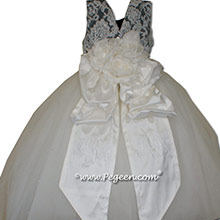 New Ivory and Pewter Gray Flower Girl Dresses with layers of tulle and Beaded aloncon Lace