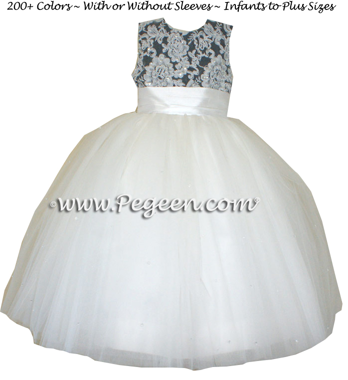 New Ivory and Pewter Gray  and tulle flower girl dresses with Aloncon Lace