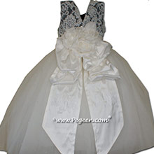 New Ivory and Pewter Gray Flower Girl Dresses with tulle and Beaded Aloncon Lace | Pegeen