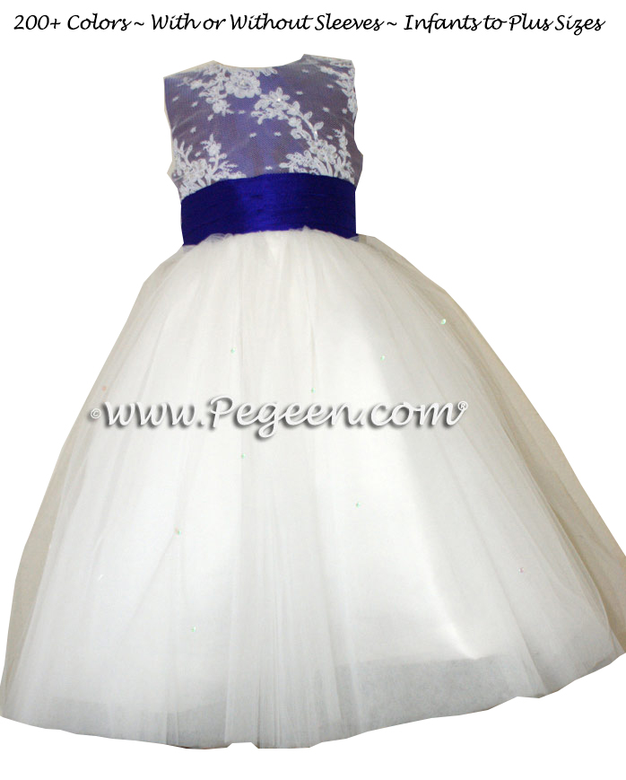 Antique white and Majestic Purple ballerina style Flower Girl Dresses with layers and layers of tulle